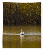 Pelican On Golden Pond Fleece Blanket