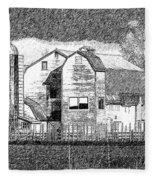 Pencil Sketch Barn Fleece Blanket