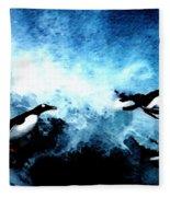 Penquin Joy Play  In Huge Waves Fleece Blanket