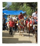People On Horseback And On Foot Making The Climb To The Vaishno Devi Shrine In India Fleece Blanket