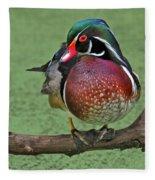 Perched Wood Duck Fleece Blanket