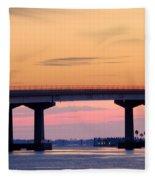 Perdido Bridge Sunrise Closeup Fleece Blanket