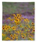 Perky Golden Coreopsis Wildflowers Fleece Blanket