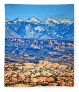 Petrified Dunes And La Sal Mountains Fleece Blanket