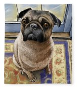 Hungry Pug Fleece Blanket