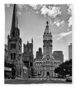 Philadelphia City Hall Bw Fleece Blanket