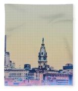 Philadelphia From South Camden Fleece Blanket
