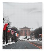Philadelphia Parkway In The Snow Fleece Blanket