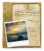 Photo Of Boat On The Sea With Bible Verse Fleece Blanket