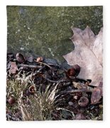 Photo Watercolour Leaf Against Rock Fleece Blanket