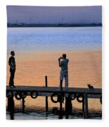 Photographing The Sunset Fleece Blanket
