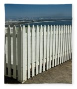 Picket Fence By The Cabrillo National Monument Lighthouse In San Diego Fleece Blanket
