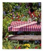 Picnic Table Among The Flowers Fleece Blanket