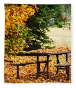 Picnic Table With Autumn Leaves Fleece Blanket