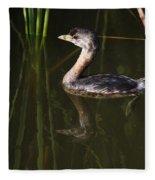 Pied-billed Grebe In The Reeds Fleece Blanket