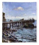 Pier Along Rocky Shore Fleece Blanket