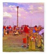 Pier Fishing Fleece Blanket