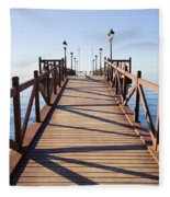 Pier On Costa Del Sol In Marbella Fleece Blanket