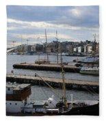 Piers Of Oslo Harbor Fleece Blanket
