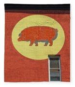Pig On A Wall Fleece Blanket