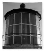 Pigeon Point Lighthouse Beacon - Black And White Fleece Blanket