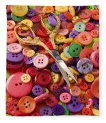 Pile Of Buttons With Scissors  Fleece Blanket