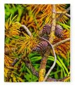 Pine Cones And Needles On A Branch Fleece Blanket
