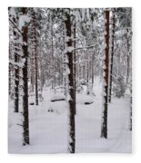 Pine Forest In January Fleece Blanket