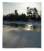 Pine Trees Casting Shadows Fleece Blanket