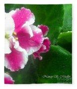 Pink African Violets And Leaves Fleece Blanket