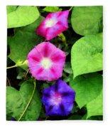 Pink And Purple Morning Glories Fleece Blanket