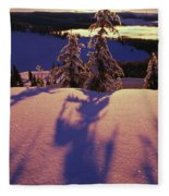 Pink And Purple Sunrise Shadows Of Snow Fleece Blanket