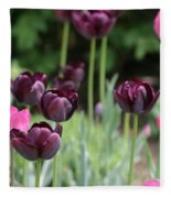 Pink And Purple Tulips Fleece Blanket