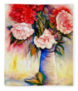 Pink And Red Peony Roses In A Tall Blue Porcelain Vase Fleece Blanket