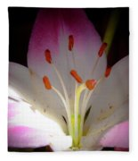 Pink And White Lily Fleece Blanket