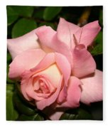 Pink And White Rose Fleece Blanket