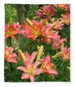 Pink And Yellow Daylilies Fleece Blanket