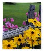 Pink And Yellow Flowers Fleece Blanket
