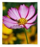 Pink Cosmos Picotee And Bee Fleece Blanket