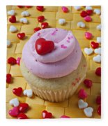 Pink Cupcake With Candy Hearts Fleece Blanket