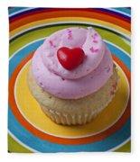 Pink Cupcake With Red Heart Fleece Blanket