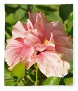 Pink Double Hibiscus Fleece Blanket