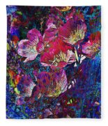 Pink Floral Abstract Fleece Blanket