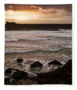Pink Granite Coast At Sunset Fleece Blanket