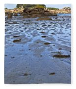 Pink Granite Island In Low Tide Fleece Blanket