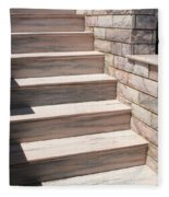Pink Marble Staircase In Patmos Greece Fleece Blanket