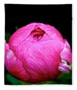 Pink Peony Bud Fleece Blanket