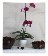 Pink Phalaenopsis Orchid And Sour Cherries Fleece Blanket