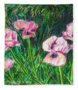 Pink Poppies Fleece Blanket