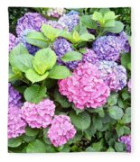 Pink Purple Hydrangeas Fleece Blanket